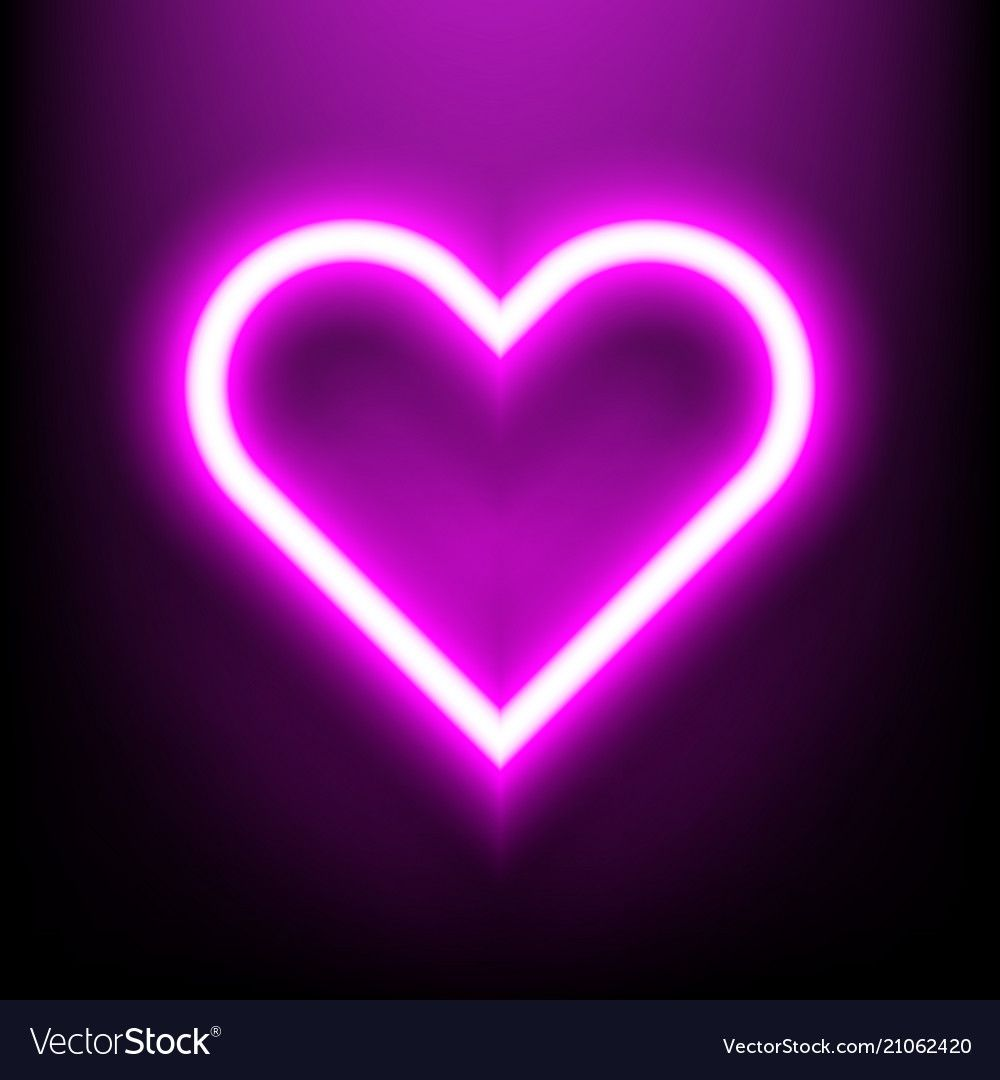 Neon Bright Lamp In Heart Shape Sign Royalty Free Vector Neon Heart Shapes Bright Lamp