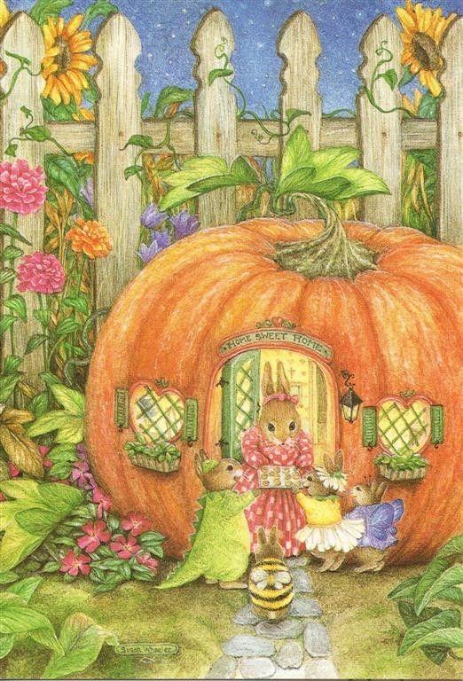 susan wheeler holly pond hill vintage halloween greeting card - Wheeler Farm Halloween
