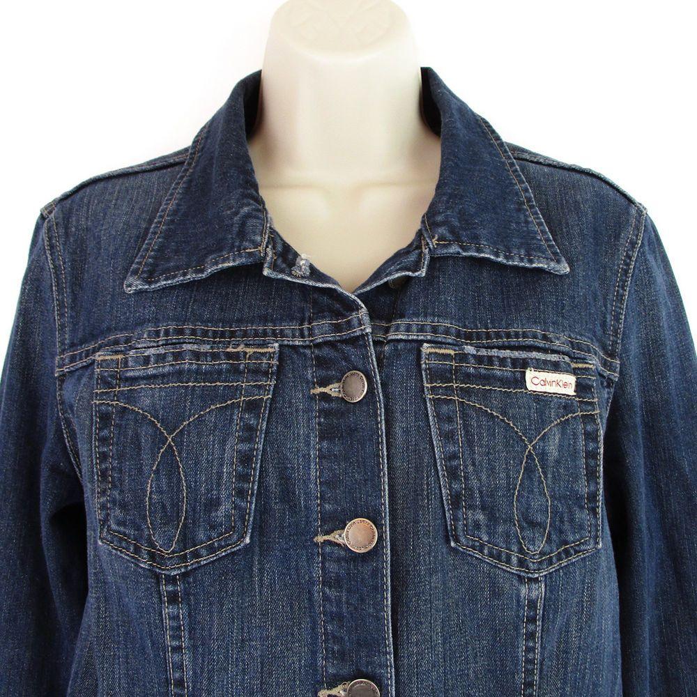 Calvin Klein Denim Jacket Womens Size Large L Vintage 90s Blue Jean Trucker Coat Calvinklein Denimjacket Ca Womens Fashion Vintage Jackets For Women Fashion