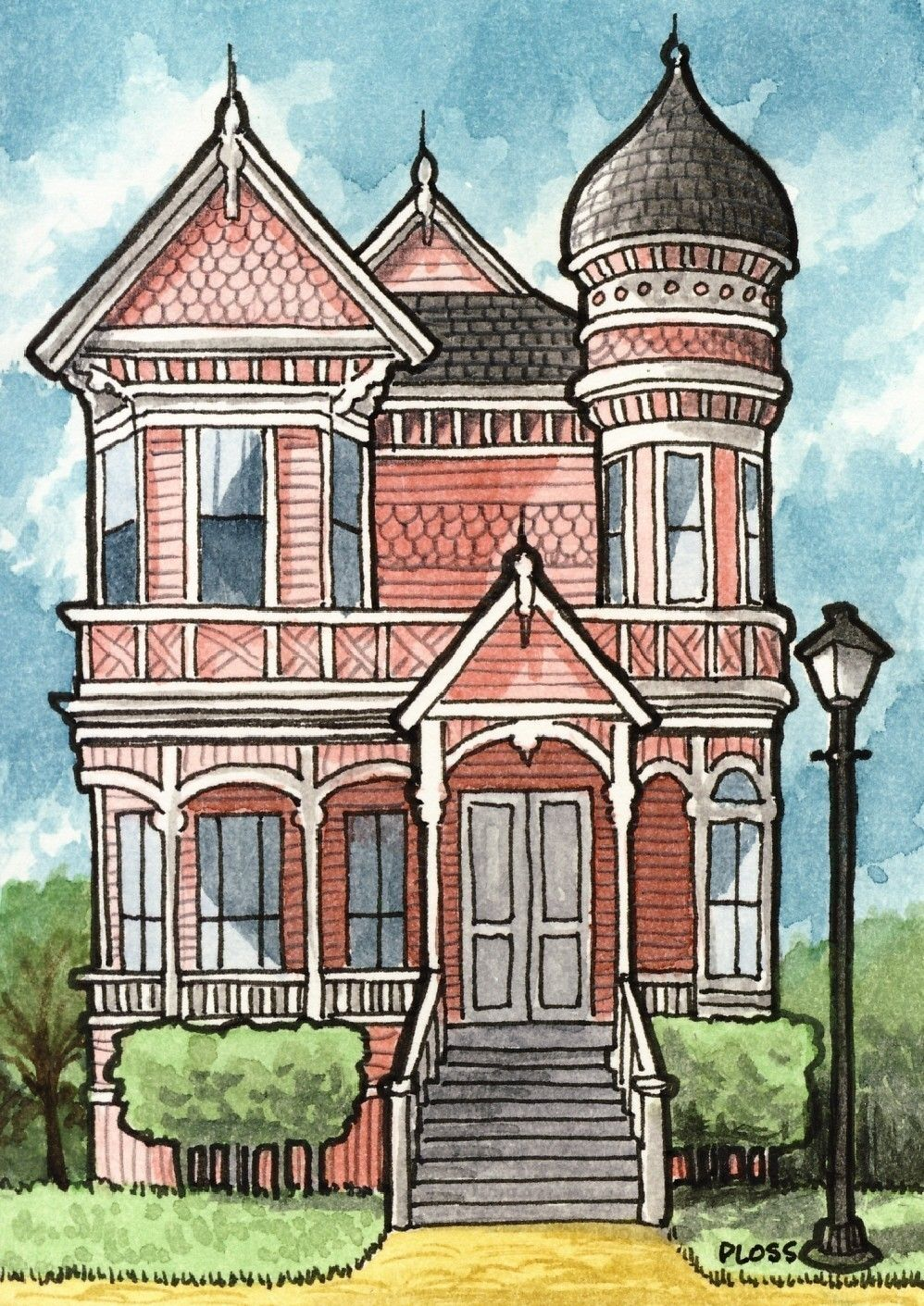 Victorian house by gene ploss on etsy painting drawing Haunted house drawing ideas