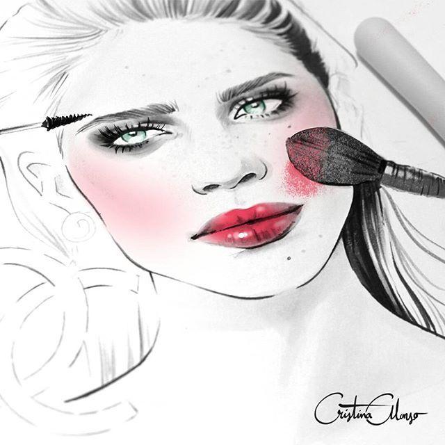 Backstage makeup!  Work In Process... #cristinaalonso #illustration #illustrator #fashion #fashionillustration #fashionillustrator #drawing #art #sketch #greeneyes #hair #style #beauty #makeup #makeupartist #backstage #brushes #blush #lipstick #cateyes #smokeyeyes #redlips #brush #yachiyo #brows #blogger #fashionblogger #beautyblogger #beautyillustration