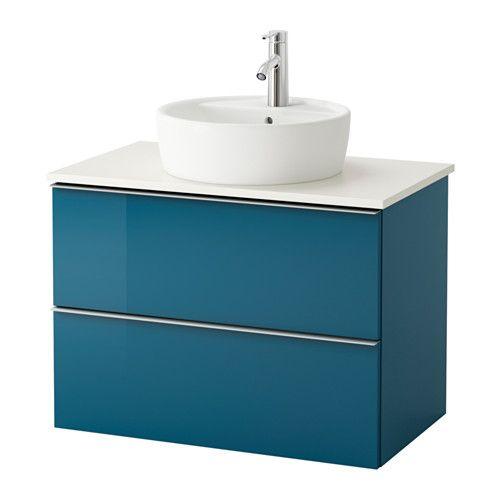 GODMORGON/ALDERN / TÖRNVIKEN Waschbschr+Aufsatzwaschb 45   Weiß, Hochglanz  Türkis, 82x49x74 Cm   IKEA