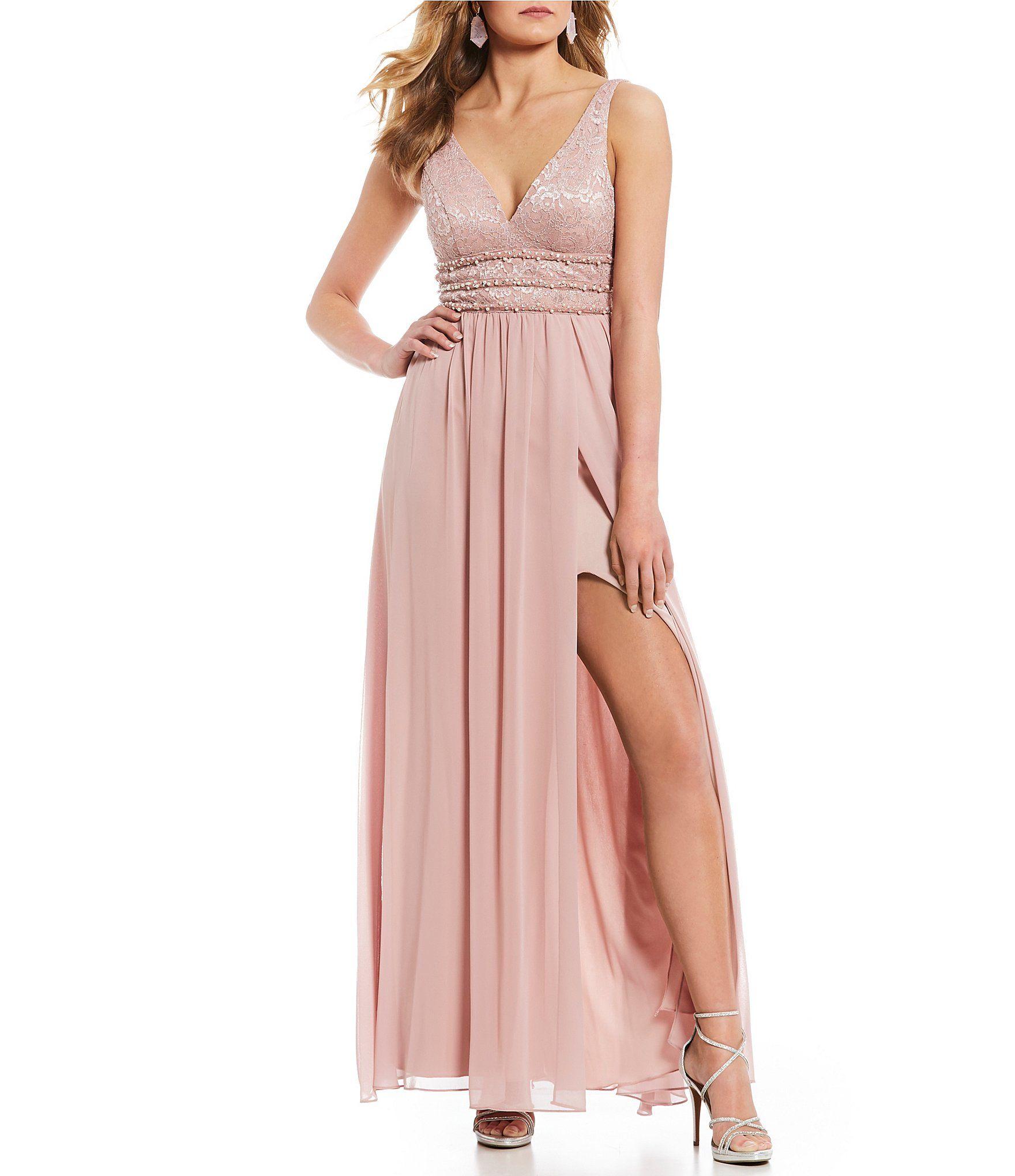 3fe8773c Jodi Kristopher Plunging Neckline Triple Beaded Waist Long Dress #Dillards