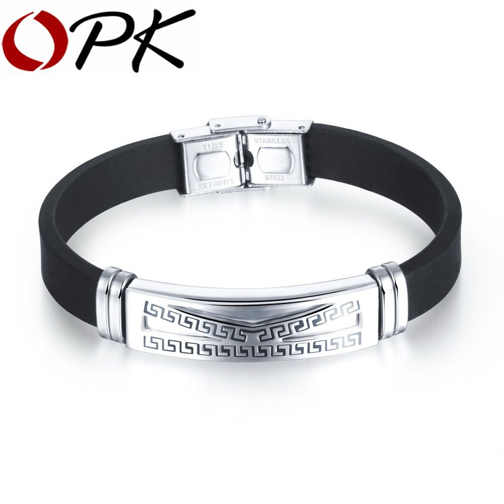 Opk casual manus silicone bracelets fashion stainless steel