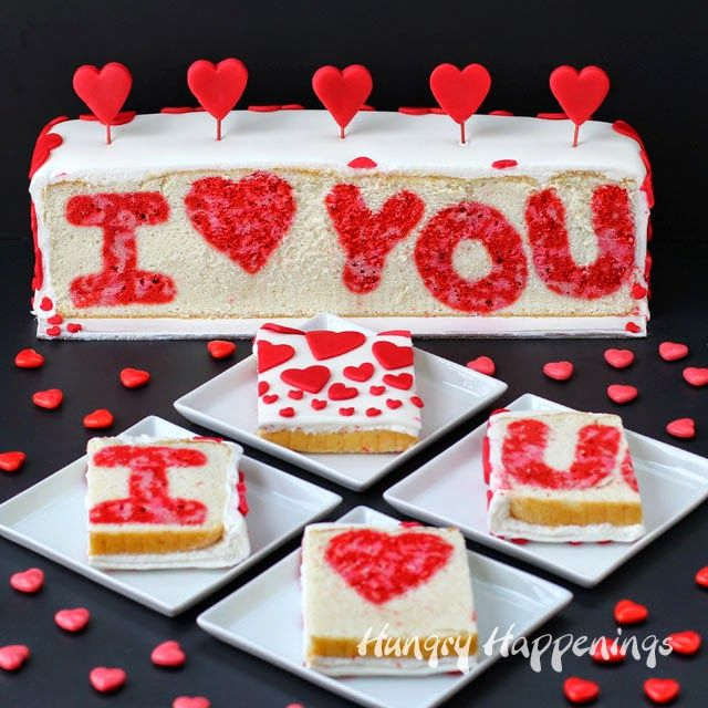surprise inside i you valentines day cake from hungryhappeningscom - Valentine Day Cake
