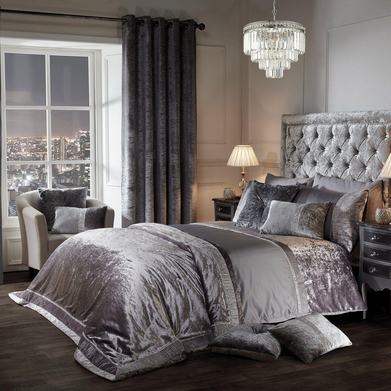 Elegance Lia Silver Luxury Embellished Duvet Set Duvet