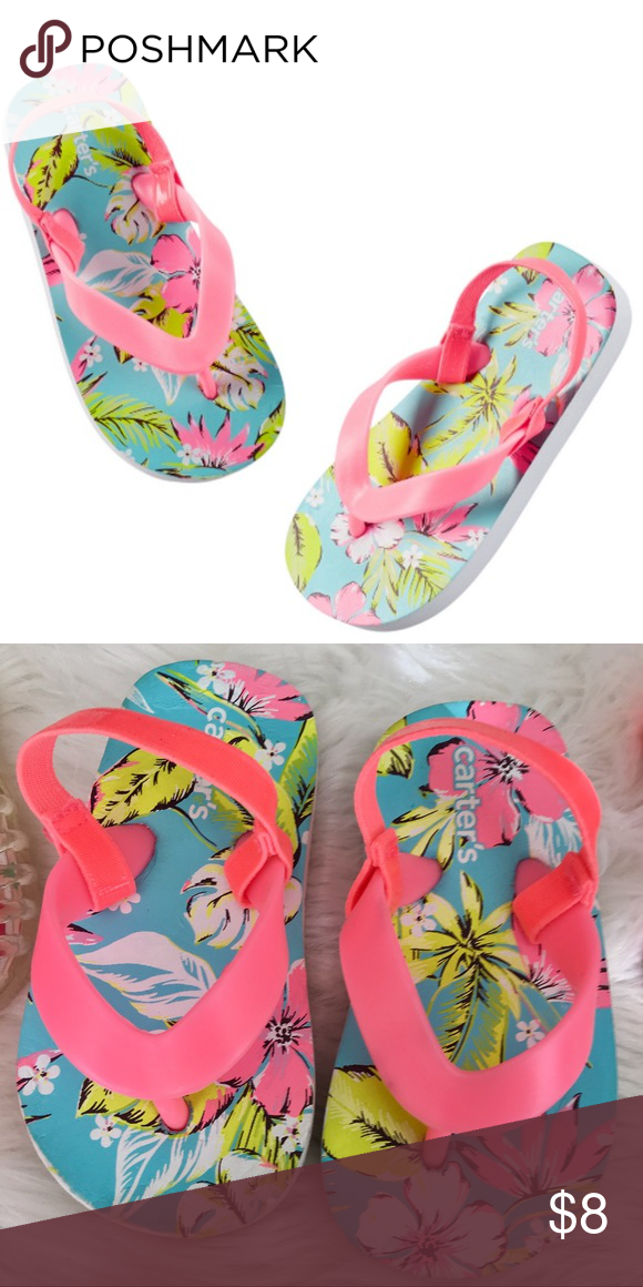 9072a4ccd52b ⭐️NEW CARTER S Tropical Hot Pink Flip Flops Brand New without tags. Toddler  girls flops with ankle strap. Carter s Shoes Sandals   Flip Flops
