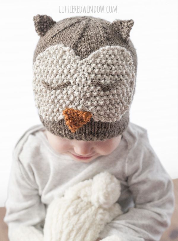 Sleepy Owl Hat Knitting Pattern