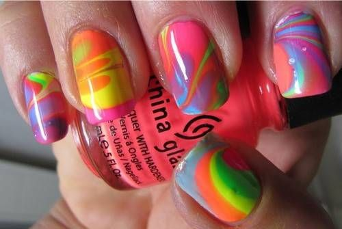 Uas Cortas Decoradas En Agua Short Nails Design In Water Nails