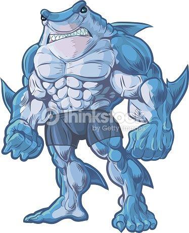 Vektorgrafik : Shark Man Vector Cartoon Illustration