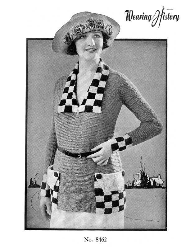 Wearing History™ - 1920s Checkerboard Sweater Knitting E ...