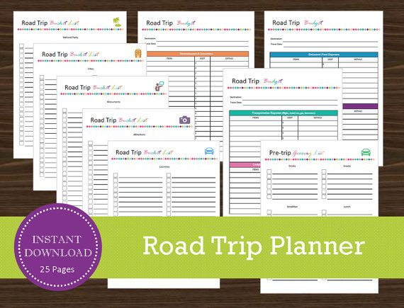 Road Trip Planner - Printable and Editable - Travel Planner - Vacation Planner - INSTANT PDF