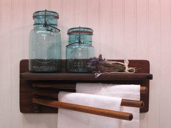 Vintage Wood Wall Mounted Towel Drying Rack By Simplelifevintage 22 50 Towel Rack Vintage Wood Wall Towel Racks