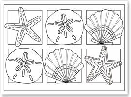 colouring sheets shells