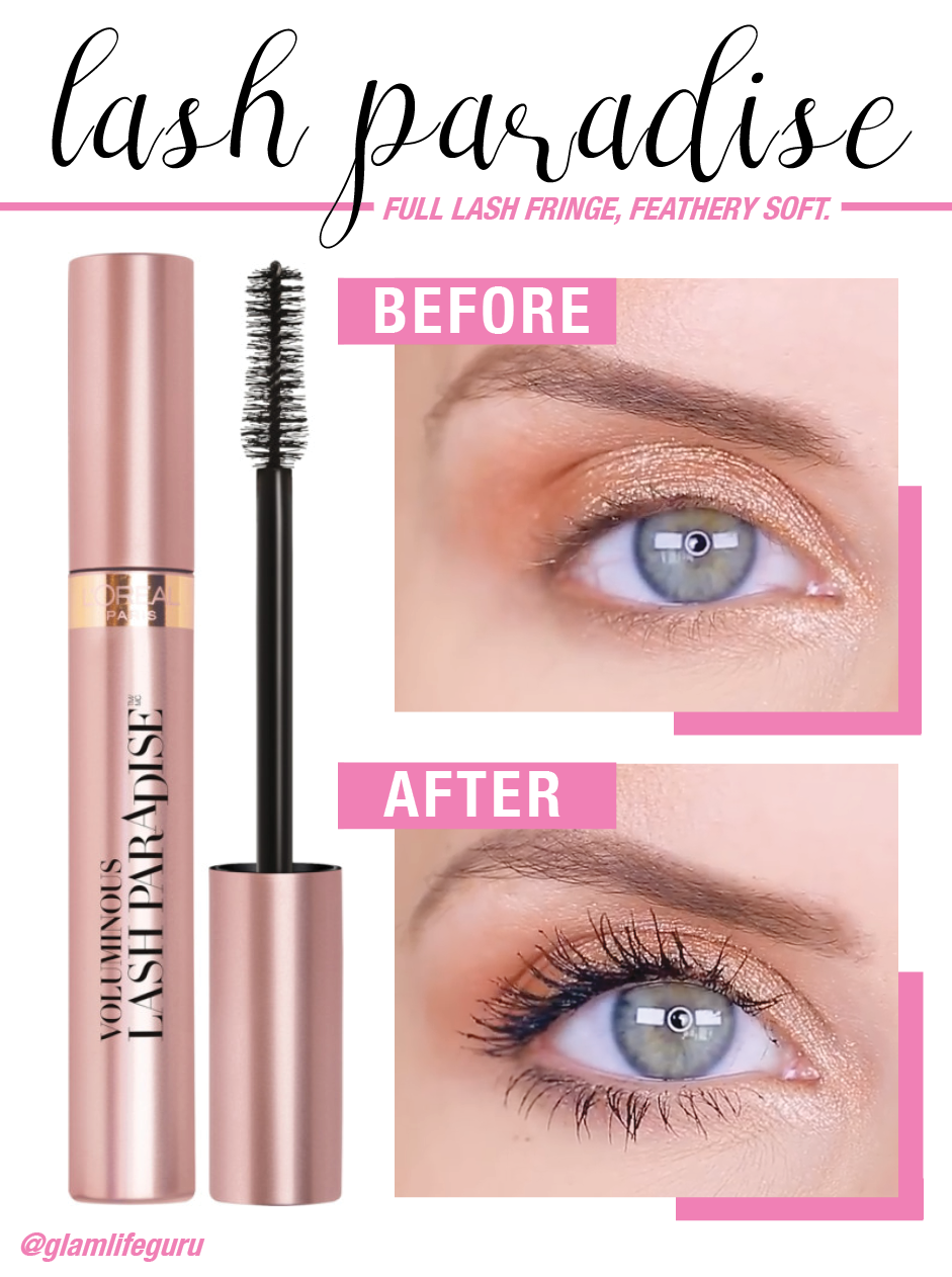 Before and after using the new L Oreal Lash Paradise mascara. Full lash  fringe 649de0f01ba