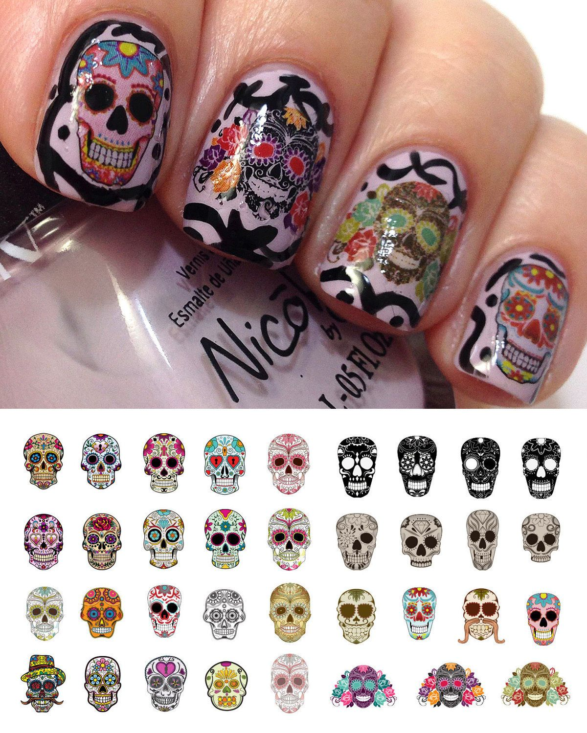 Sugar Skull Set 1 Nail Art Waterslide Decals Day Of The Dead