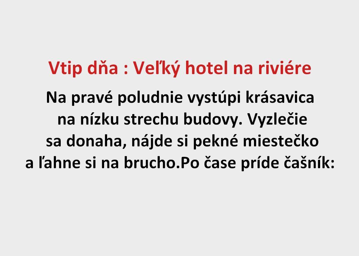 Vtip dňa : Veľký hotel na riviére - Spišiakoviny.eu