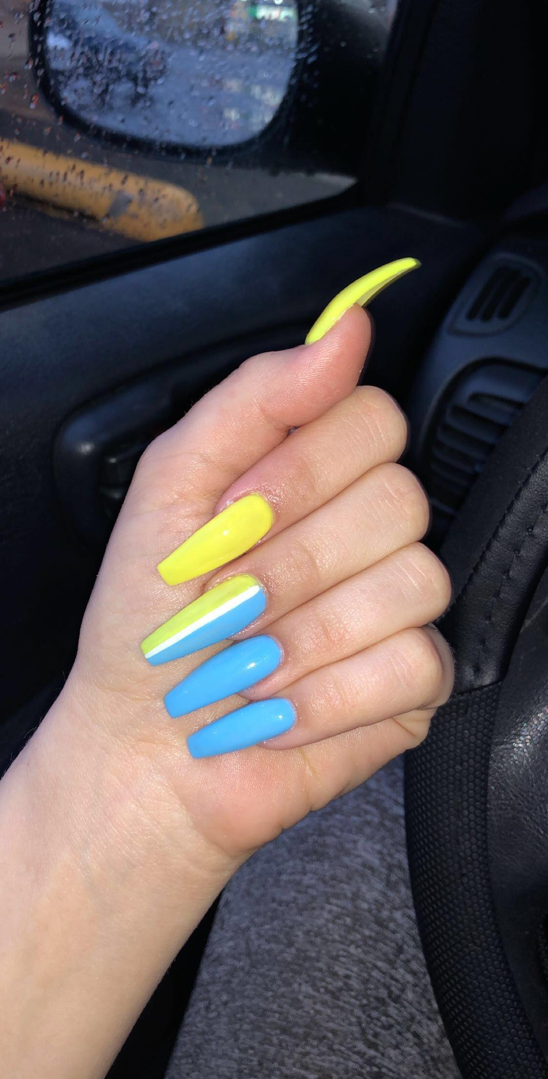 Long Coffin Acrylic Nails Blue Yellow Yellow Nails Blue Acrylic Nails Blue Nails