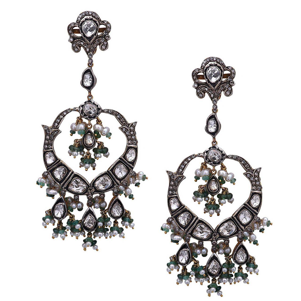 Stunning pearl emerald rose cut diamond chandelier earrings stunning pearl emerald rose cut diamond chandelier earrings mozeypictures Image collections