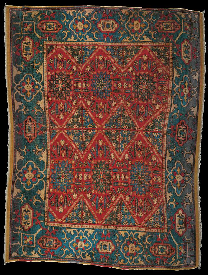 "The Wher East Mediterranean compartment rug, Damascus, 16th century   The Wher East Mediterranean compartment rug, Damascus, 16th century. 1.30 x 1.75m (4'3"" x 5'9""). The Museum of Islamic Art, Doha, Qatar, no.CA44."