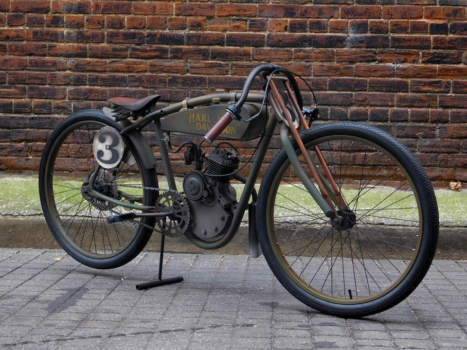1918 Harley Davidson Board Track Tribute Replica Motorized Bicycle Racer 2 Stroke