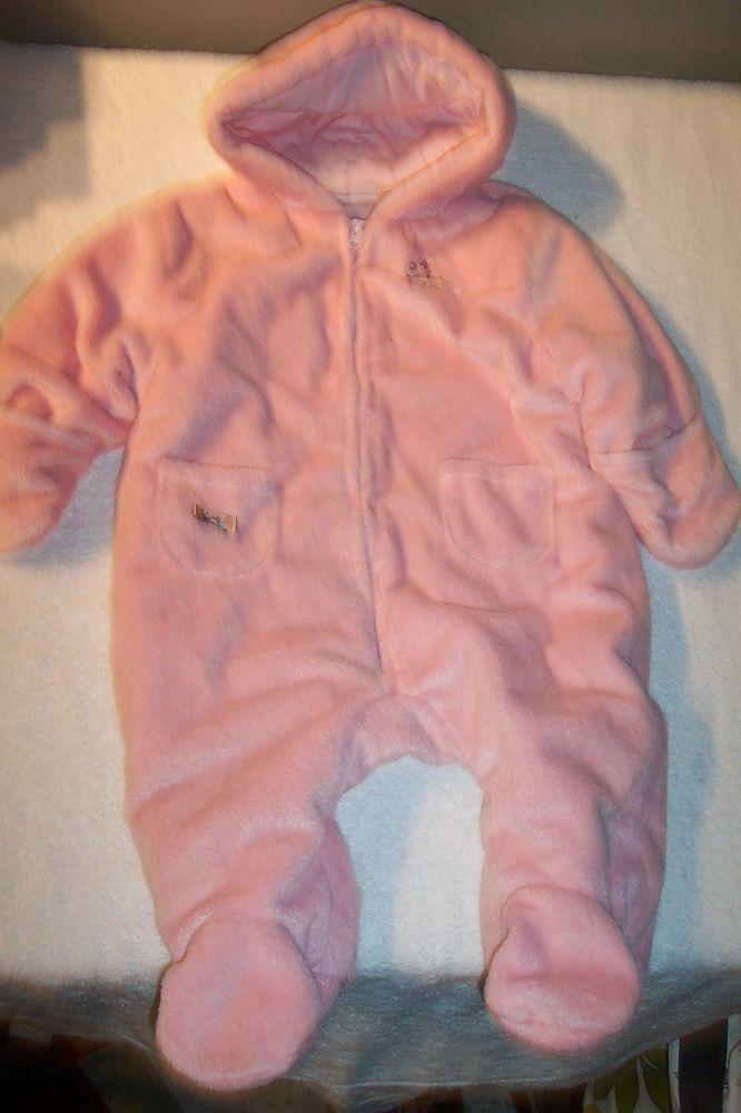 92b7b92b2 CALVIN KLEIN Baby Girl Plush Bunting Snowsuit Outerwear Hooded Pink ...