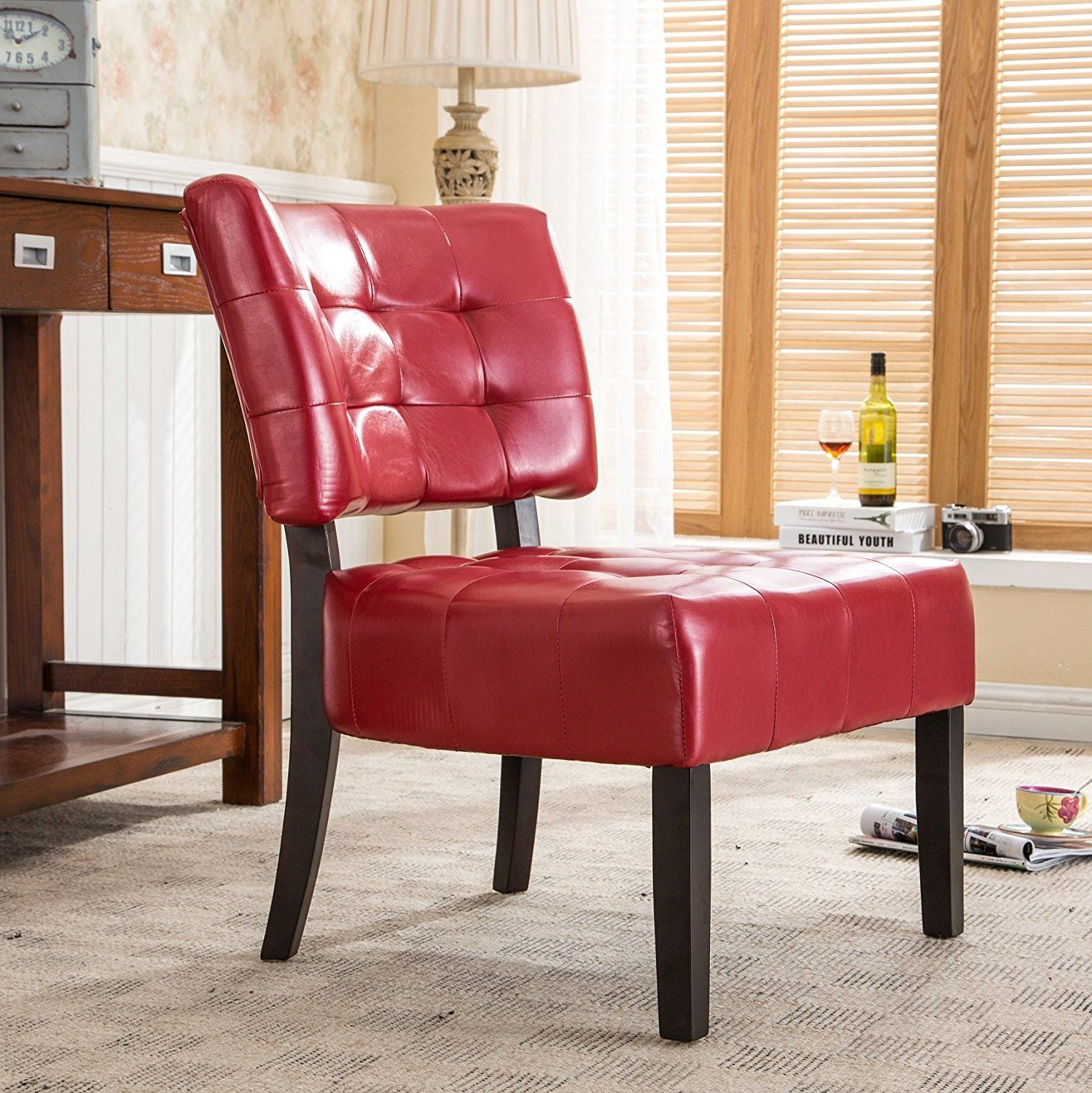 Amazon.com: Roundhill Furniture Blended Leather Tufted ...