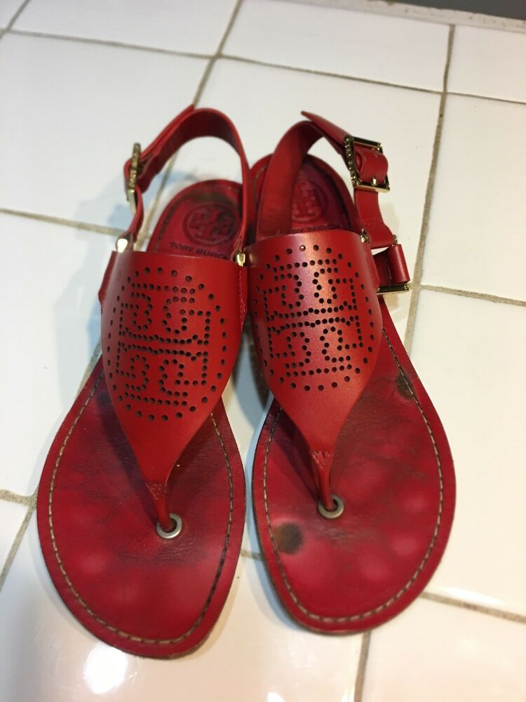 f0ed21986 Tory Burch Sandals Red 6.5 Gold Hardware USED  fashion  clothing  shoes   accessories  womensshoes  sandals (ebay link)