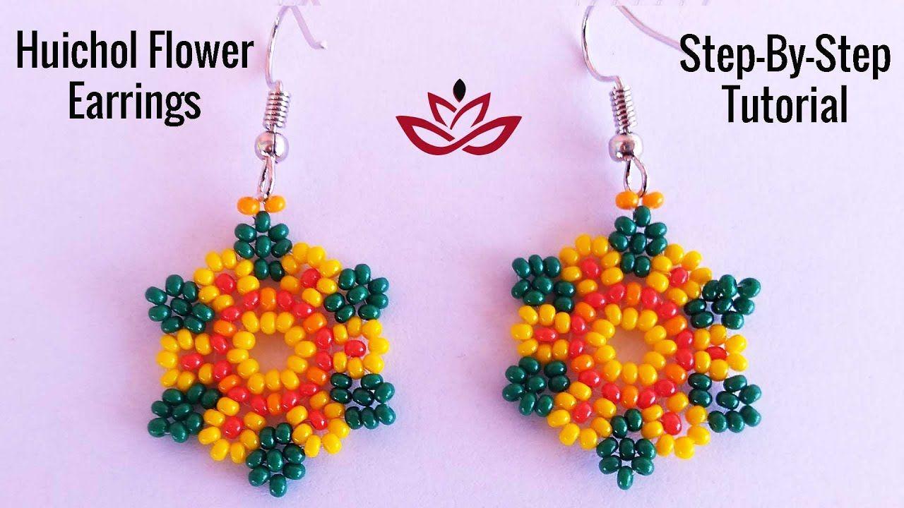 Huichol Flower Earrings Tutorial How To Make Beaded Earrings