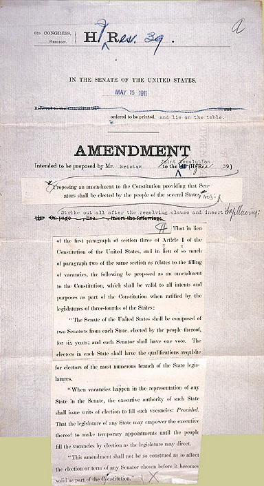 April 8 1913 The 17th Amendment To The Constitution Allowing