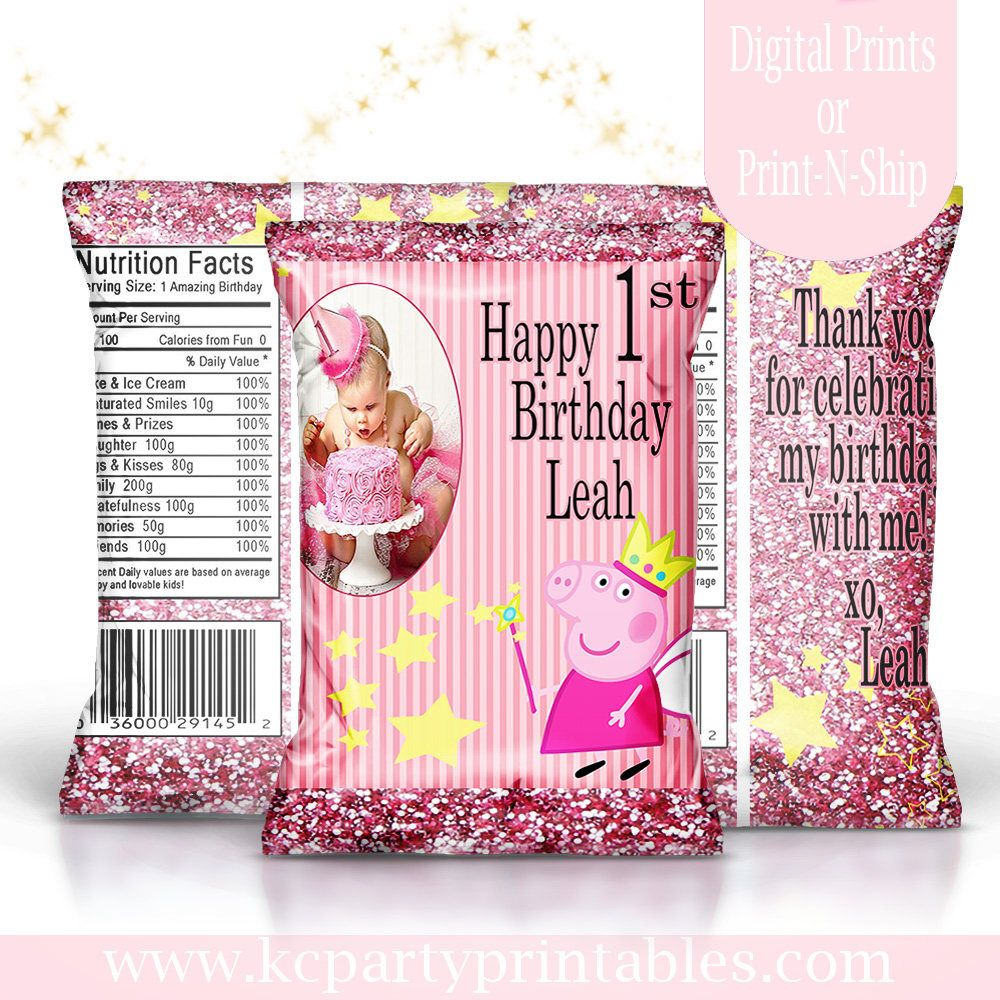 graphic relating to Printable Chip Bags identified as Peppa Pig motivated tailor made address bag. Birthday. Custom made chip