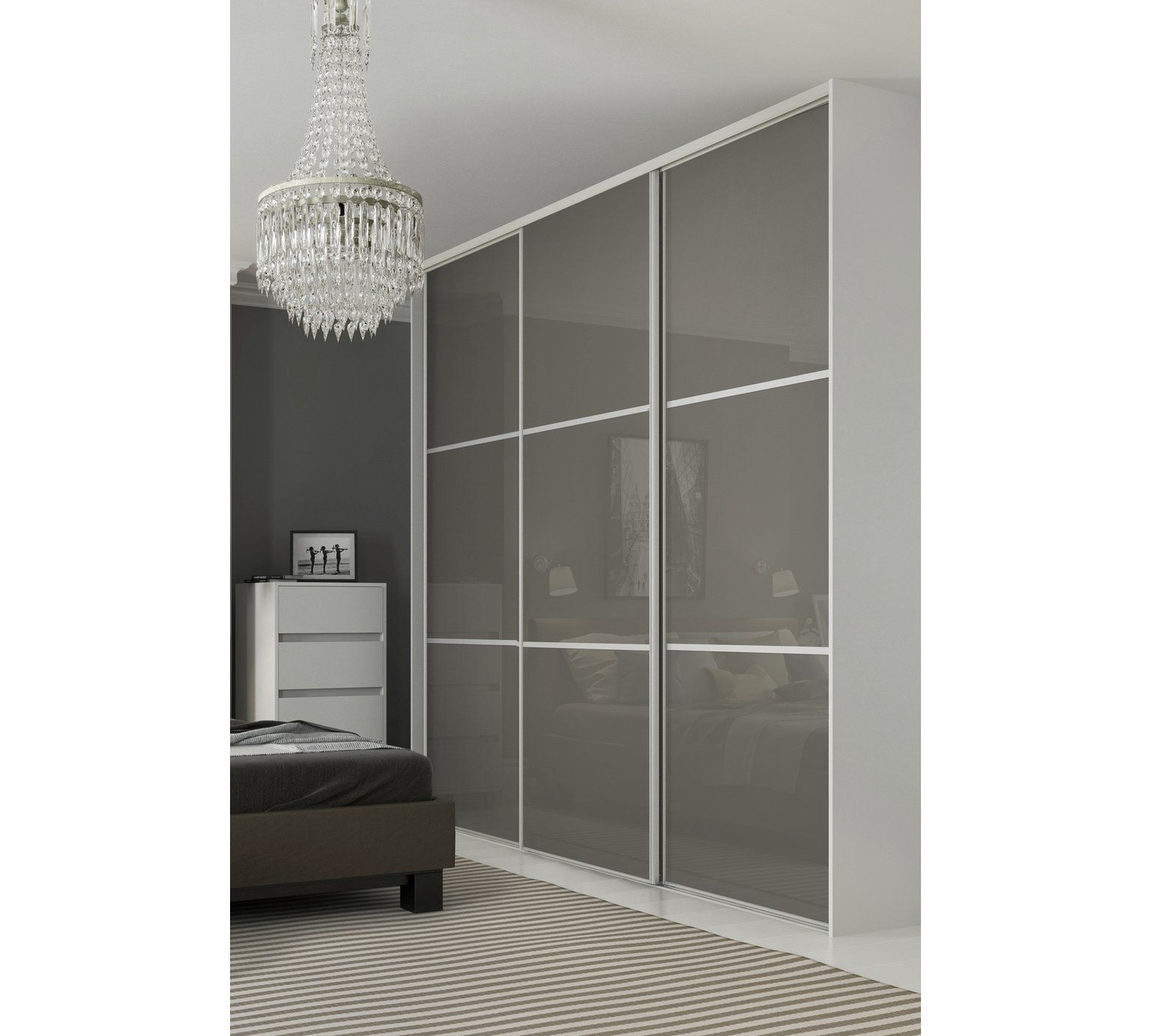 Buy Sliding Wardrobe Door W610mm 3 Panel Cappuccino Glass At Argos