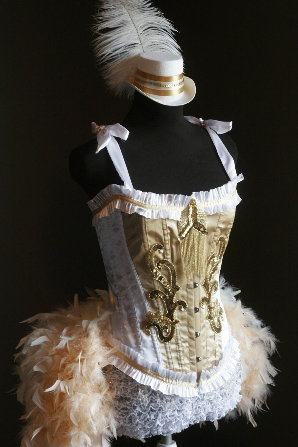 Burlesque Costume Gold OLYMPIAN White Corset 1920s Great ...