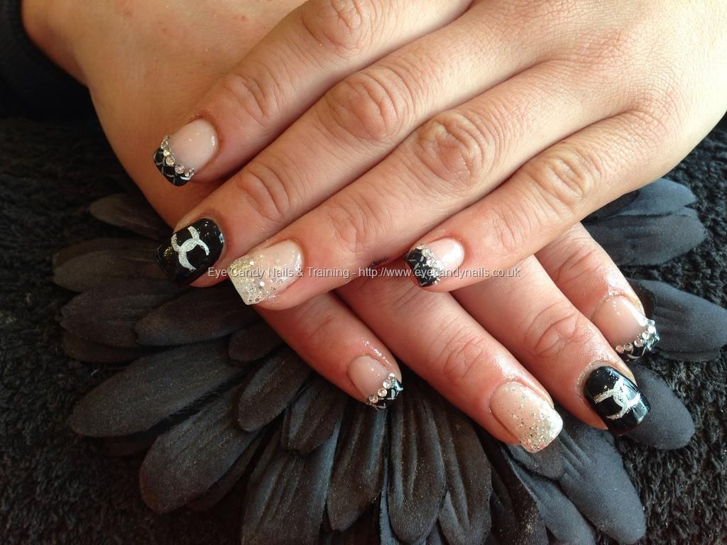 Acrylic nails with free hand art swarovski crystals and gel