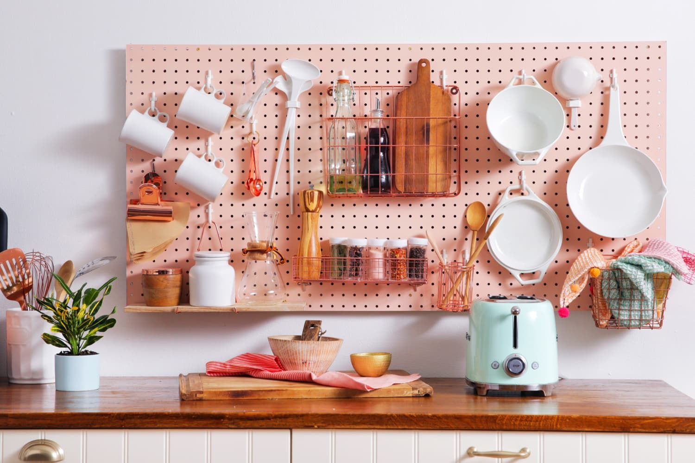 Kitchen Pegboard Storage Wall DIY