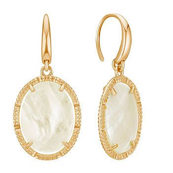 These shimmering mother-of-pearl oval earrings are surrounded by quality yellow plated sterling silver with milgrain detailing.  The earrings are 1 and 1/4 inches in length and will be a great asset to your jewelry collection.