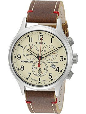 0f1aac157841 Timex Men s TW4B04300 Expedition Scout Chrono Brown Natural Leather Strap  Watch ❤ Timex Corporation