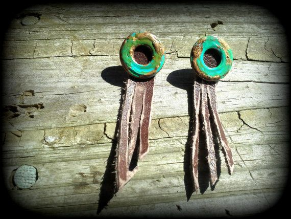 Acid Seaweed Ring and Distressed Leather Fringe by MetalChocolate, $16.00