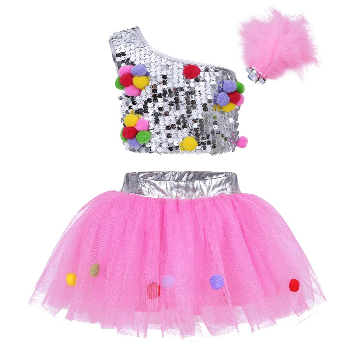 ca0da3caa633 iEFiEL Girls Sequined Crop Top with Tutu Skirt Hair Clip Costume Kids Choir  Jazz Dance Stage Performance Fancy Dress Up SilverandPink 23 >>> Click  image for ...