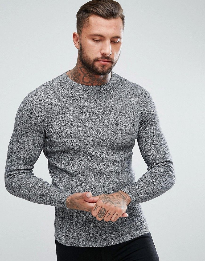 bb0d6f85621 New Look Ribbed Muscle Fit Sweater In Black Marl - Black