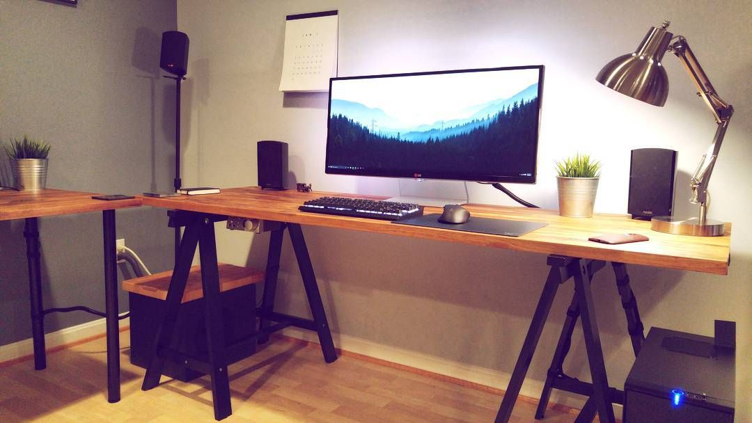 """By jasonngman  Desk: Hammarp from Ikea, 74 inch in oak, with a Gerton desk Keyboard: K65 Monitor: LG 34um95 Wallpaper link: https://i.imgur.com/edseSku.jpg"""