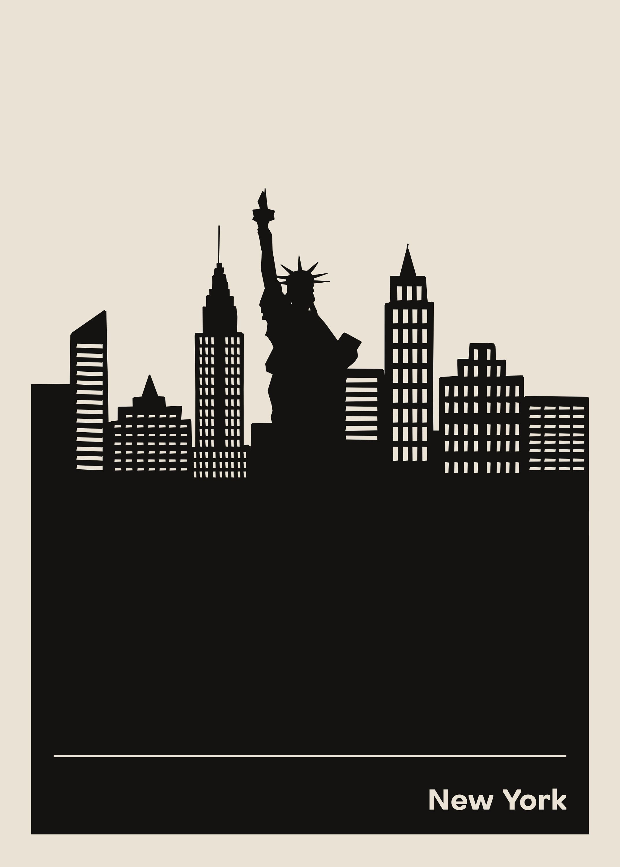New York Map Travel Poster Print, Minimalist Usa Ny City