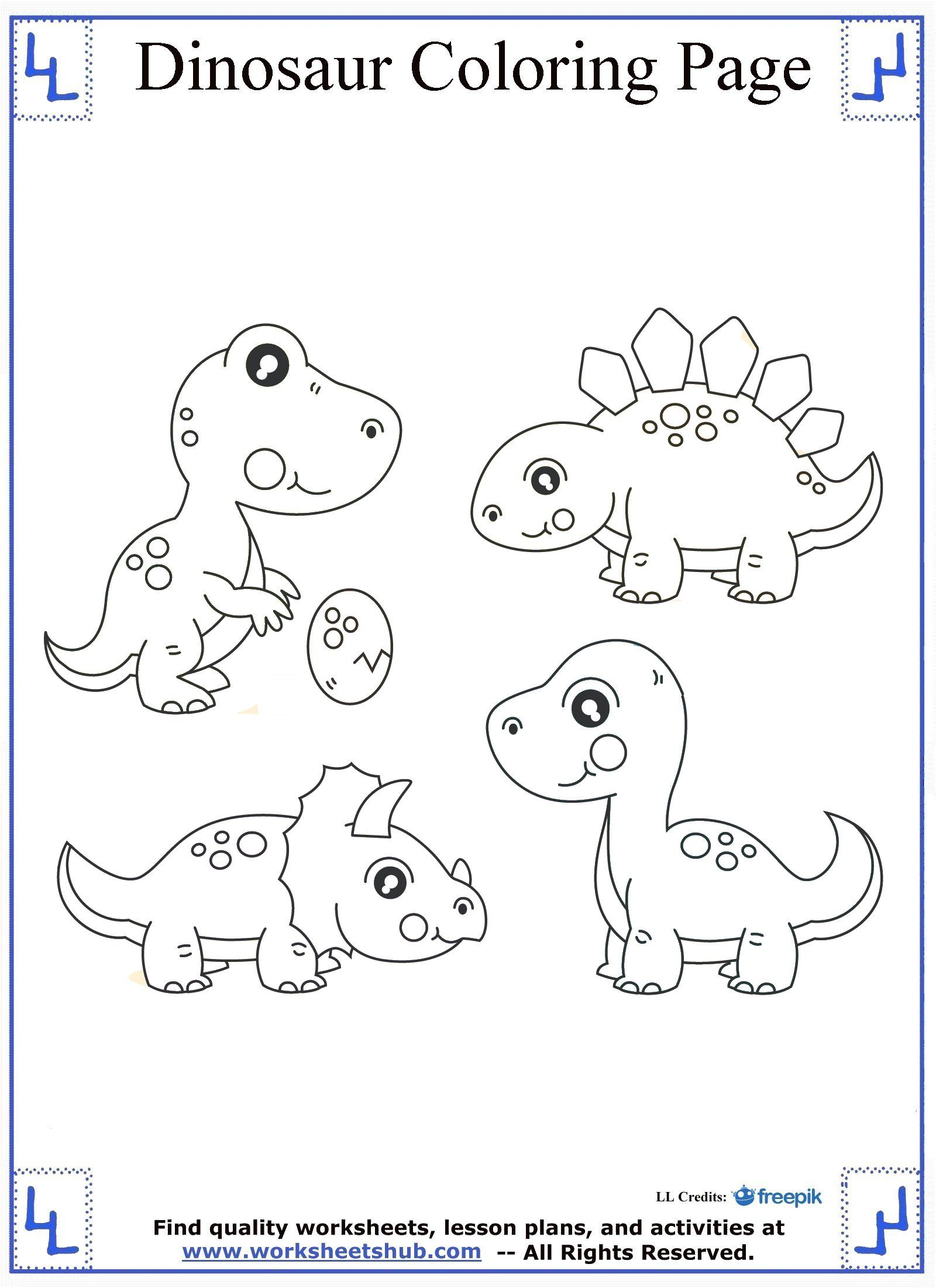 Baby Dinosaurs Coloring Page | Stamps | Dinosaur coloring ...