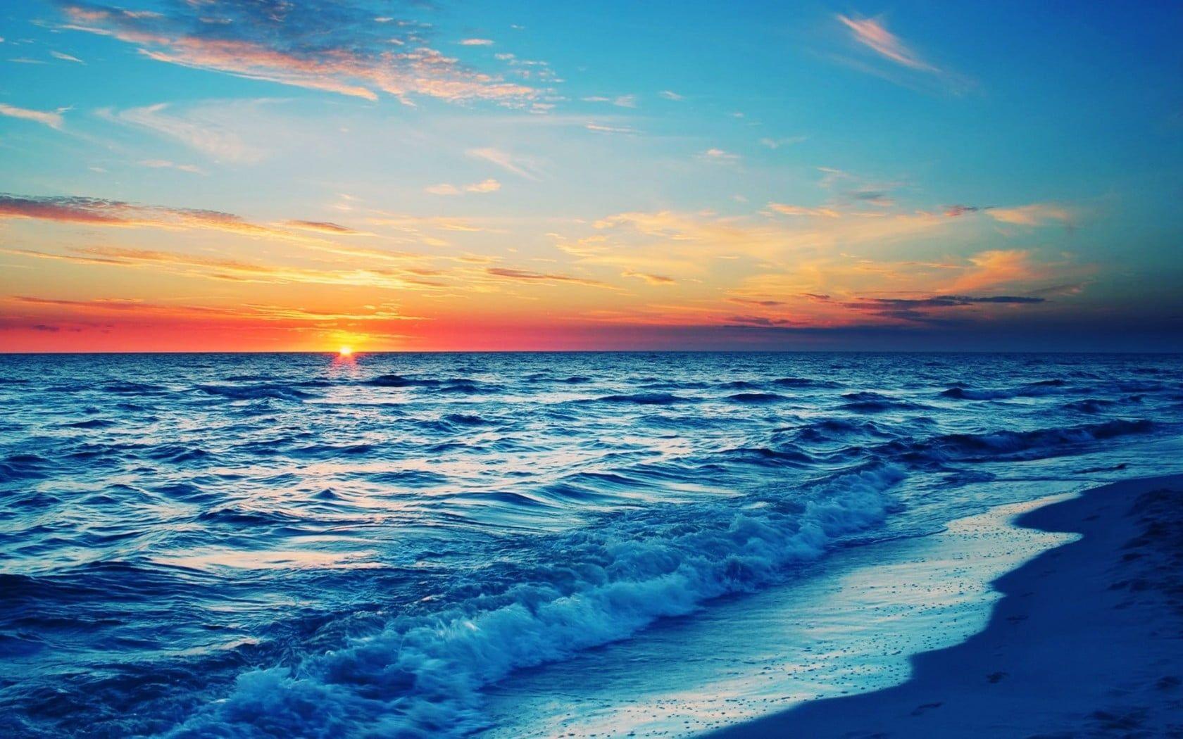 Beach Shore Beach Sunset Coast Waves Sea 720p Wallpaper Hdwallpaper Desktop Beach Sunset Wallpaper Beach Wallpaper Wallpaper Landscape