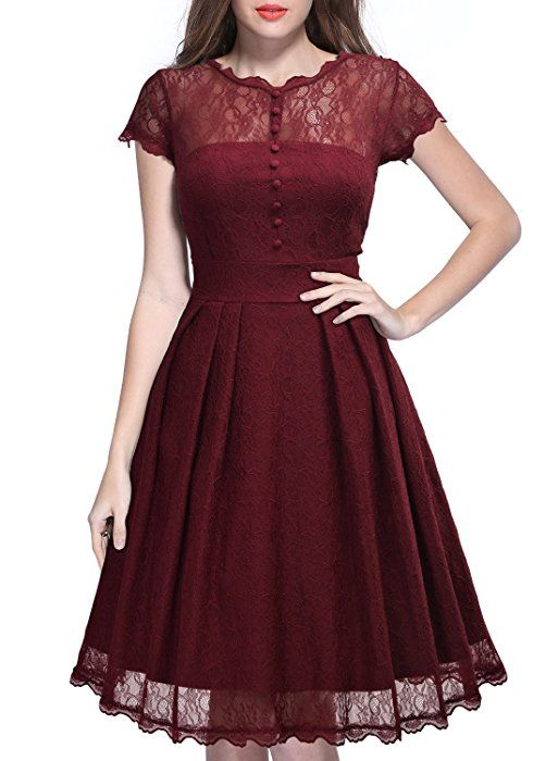 MIUSOL Women\'s Vintage 1940s Tea Dress,Cap Sleeve A Line Lace ...