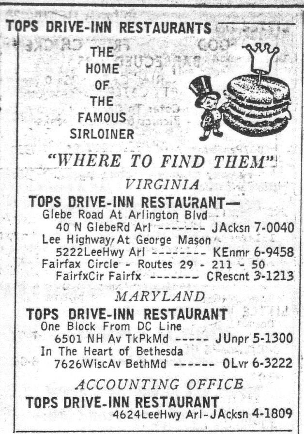 Tops ad from the 1957 Northern VA Yellow Pages.