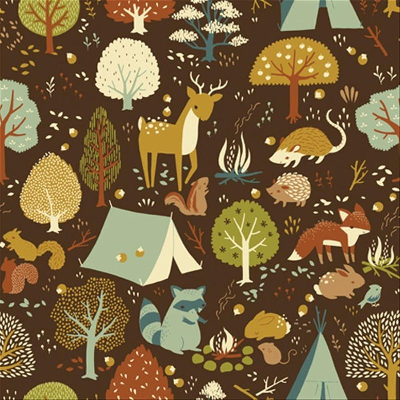 Critter Camp Print from Fort Firefly Collection from Birch Fabrics.