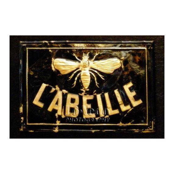 Bee Sign Photo, Paris Photography, Honey Bee, Kitchen Decor, Black, Gold