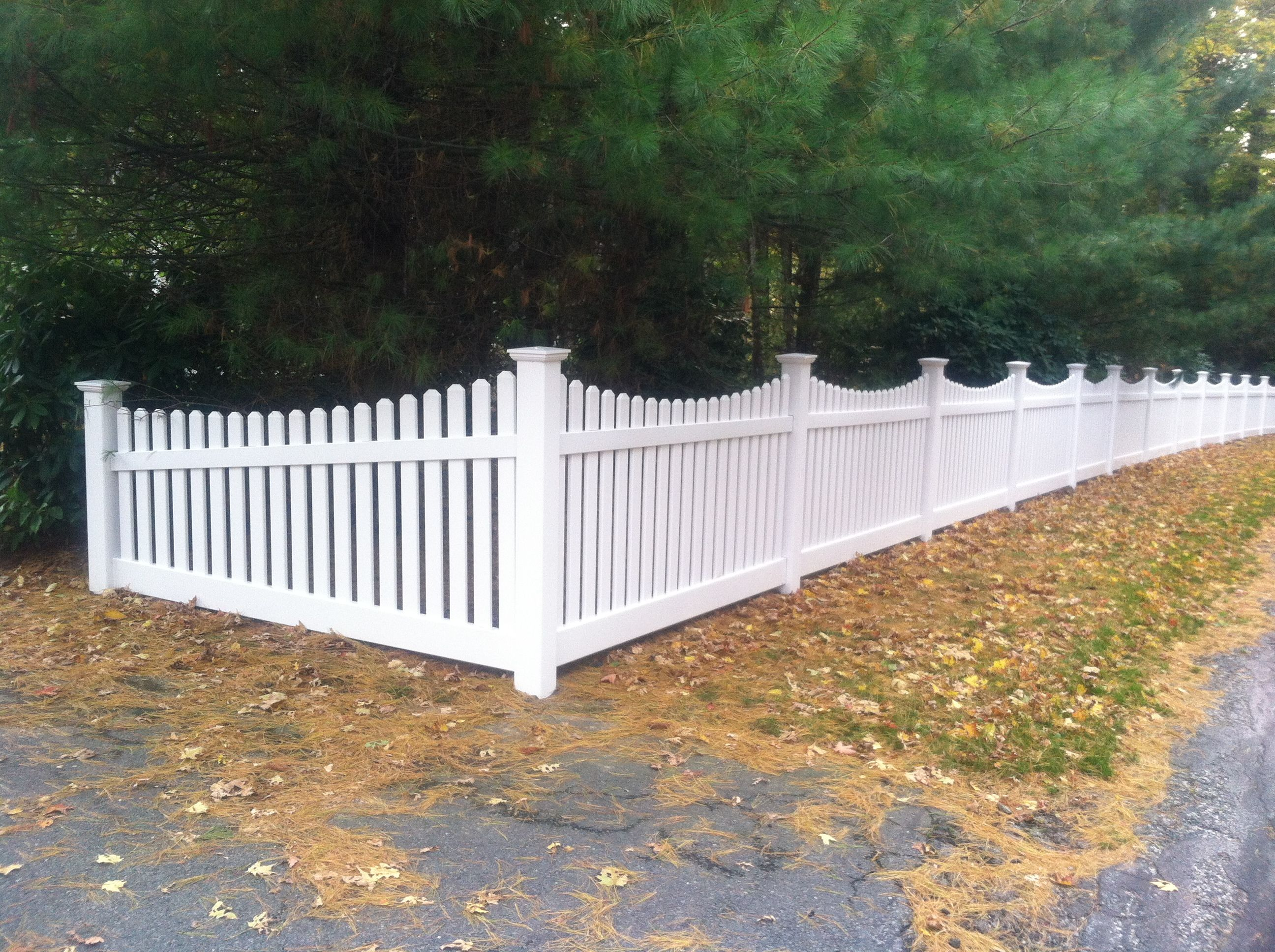 3 Wide Picket Scalloped Top White Pvc Picket Fence Panels Vinyl Picket Fence White Garden Fence