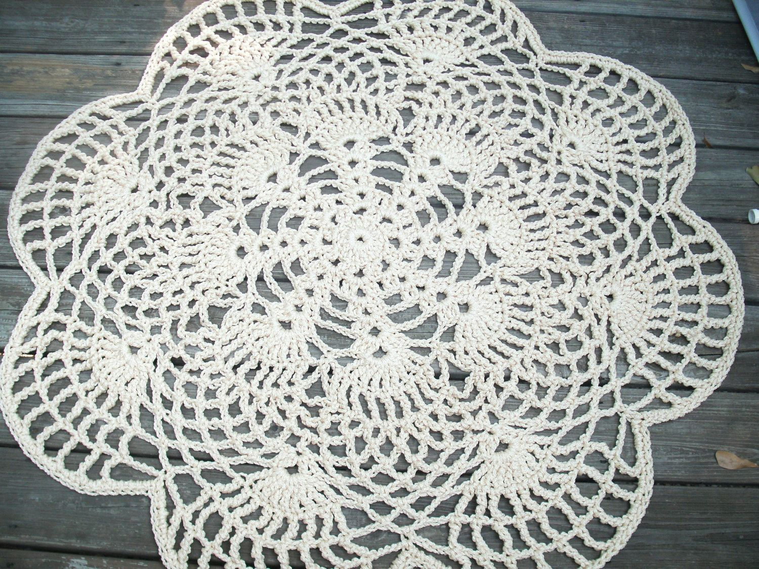 Off White Flesh Patio Porch Cord Crochet Rug in 45\